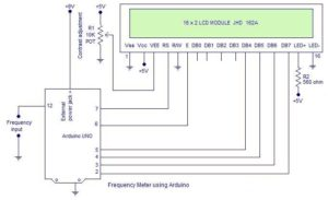 Frequency counter using Arduino (upto 40KHz) Schematic Circuit Diagram