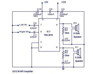 Hi Fi Amplifier Circuit – 2X12 Watts Schematic Circuit Diagram