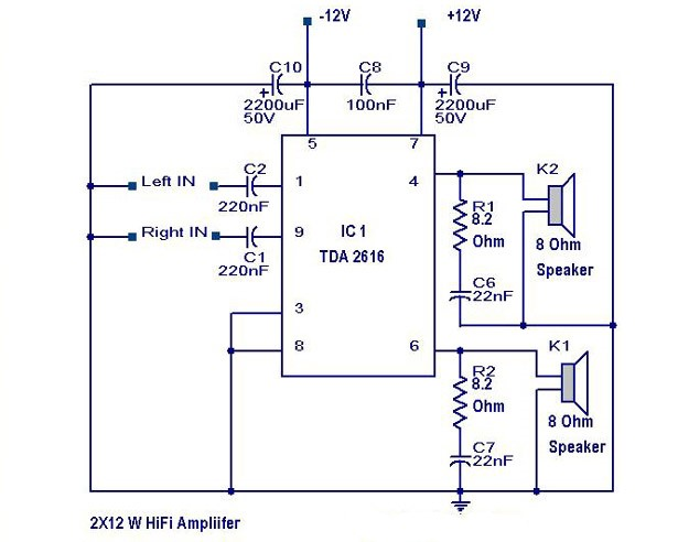 Photo of Hi Fi Amplifier Circuit – 2X12 Watts Schematic Circuit Diagram