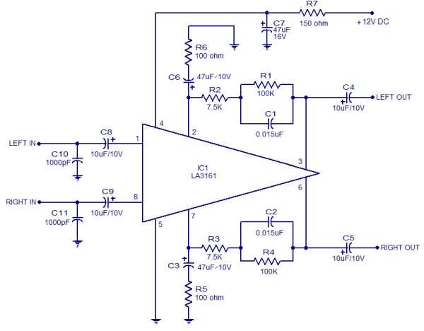 LA3161 Stereo Preamplifier Schematic Circuit Diagram