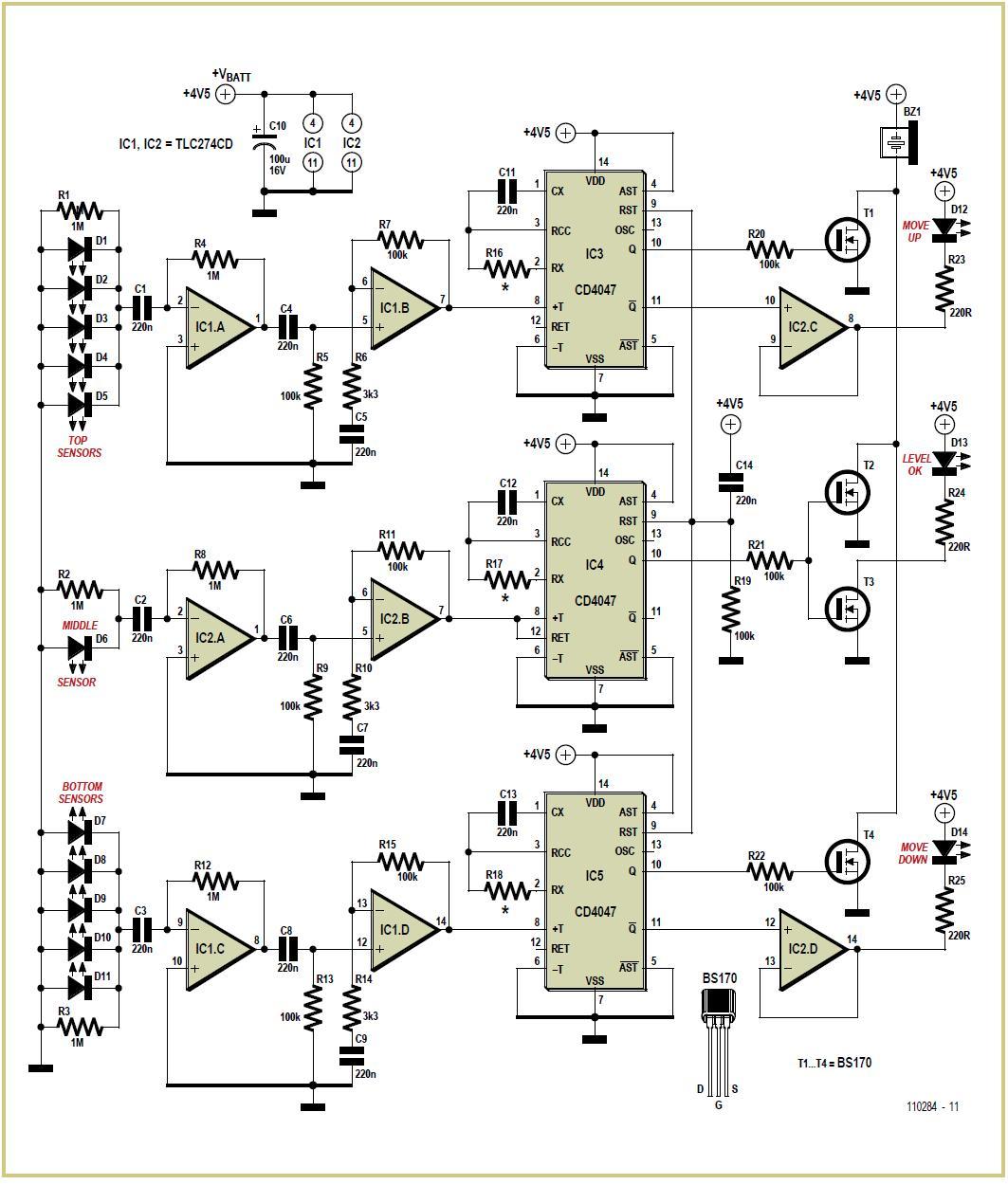 Laser Level Detector Schematic Circuit Diagram