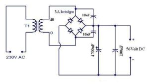 Motional feed back amplifier power supply schematic circuit diagram