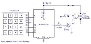 PWM motor speed control using Arduino Schematic Circuit Diagram 1