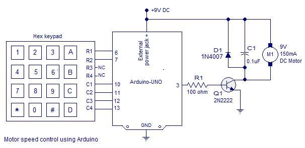 Photo of PWM motor speed control using Arduino Schematic Circuit Diagram