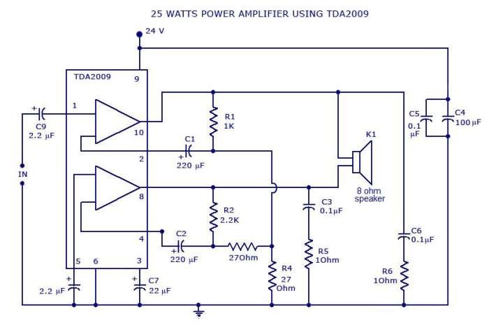 Photo of Power Amplifier Circuit – 25 Watts Schematic Circuit Diagram