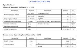 Specification LA 4440 IC