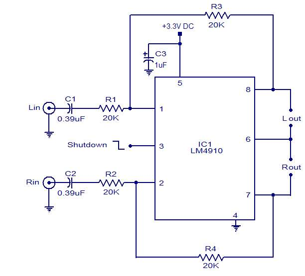Stereo headphone amplifier Schematic Circuit Diagram
