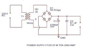TDA 2009 Power Amplifier Supply Schematic Circuit Diagram