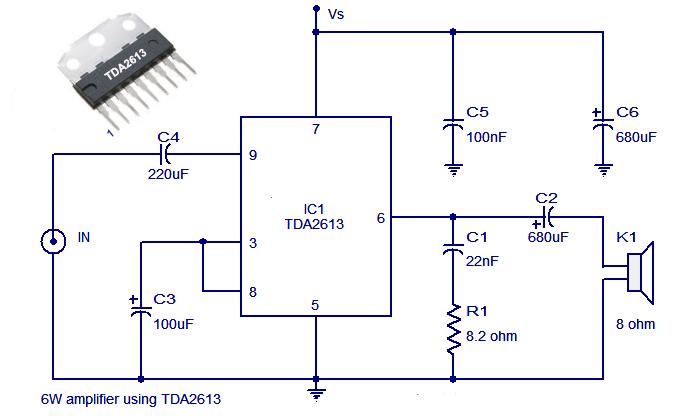 TDA2613 Hi Fi audio amplifier schematic circuit diagram