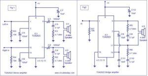 TDA2822 amplifier circuit ( BTL & Stereo ) Schematic Circuit Diagram