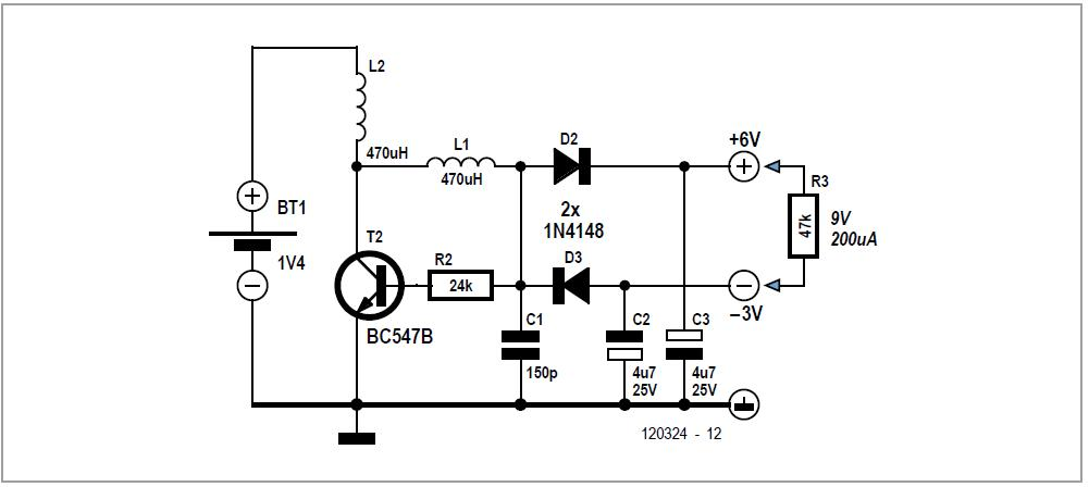 One-transistor Voltage Converter Schematic Circuit Diagram 2