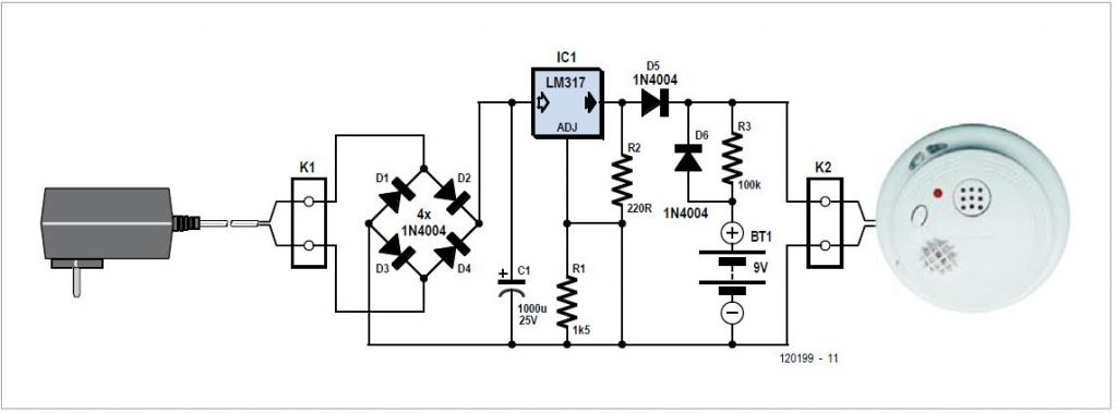 Smoke Alarm Power Supply Schematic Circuit Diagram