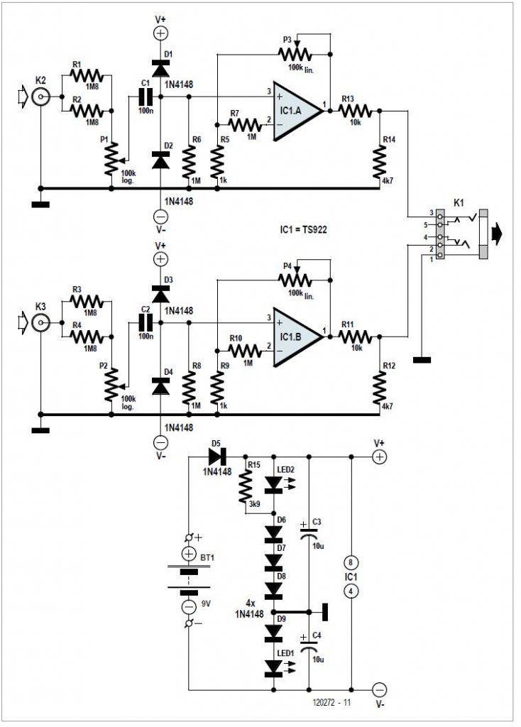 Universal Measurement Amplifier/Attenuator Schematic Circuit Diagram