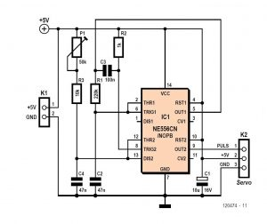 Simple Servo Tester Schematic Circuit Diagram