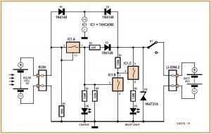 Solar-Powered Night Light Schematic Circuit Diagram