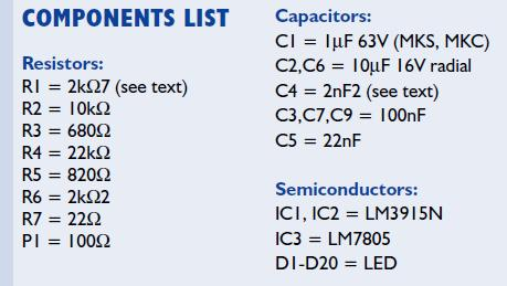 60-dB LED VU Meter Schematic Circuit Diagram Components list
