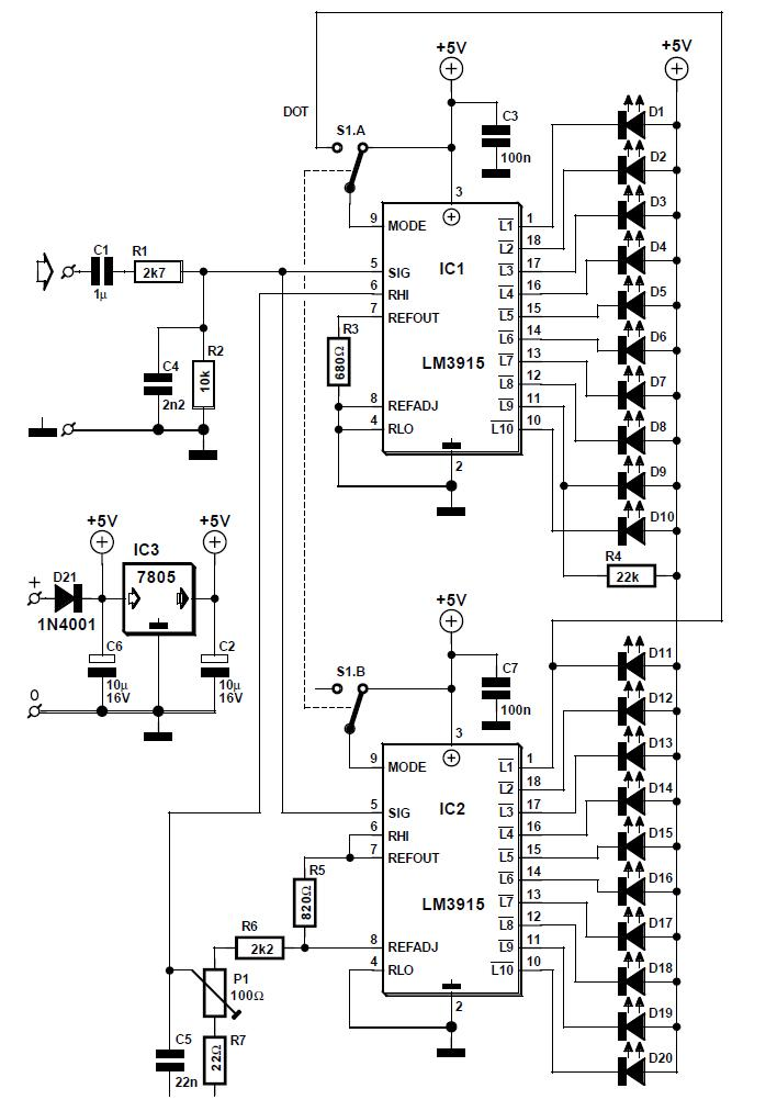 60-dB LED VU Meter Schematic Circuit Diagram