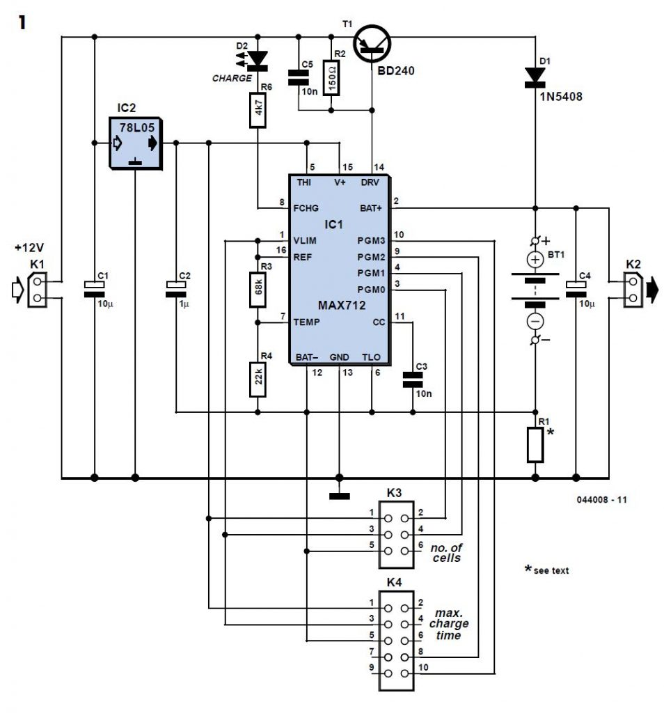 NiMH Charger for up to six Cells Schematic Circuit Diagram