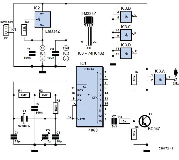 Thrifty 2-Hz Clock Schematic Circuit Diagram