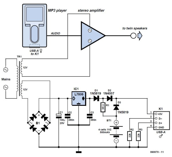 BBC Radio-MP3 for Seniors Schematic Circuit Diagram