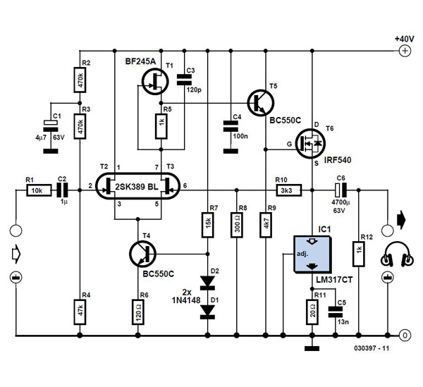 Precision Headphone Amplifier Schematic Circuit Diagram