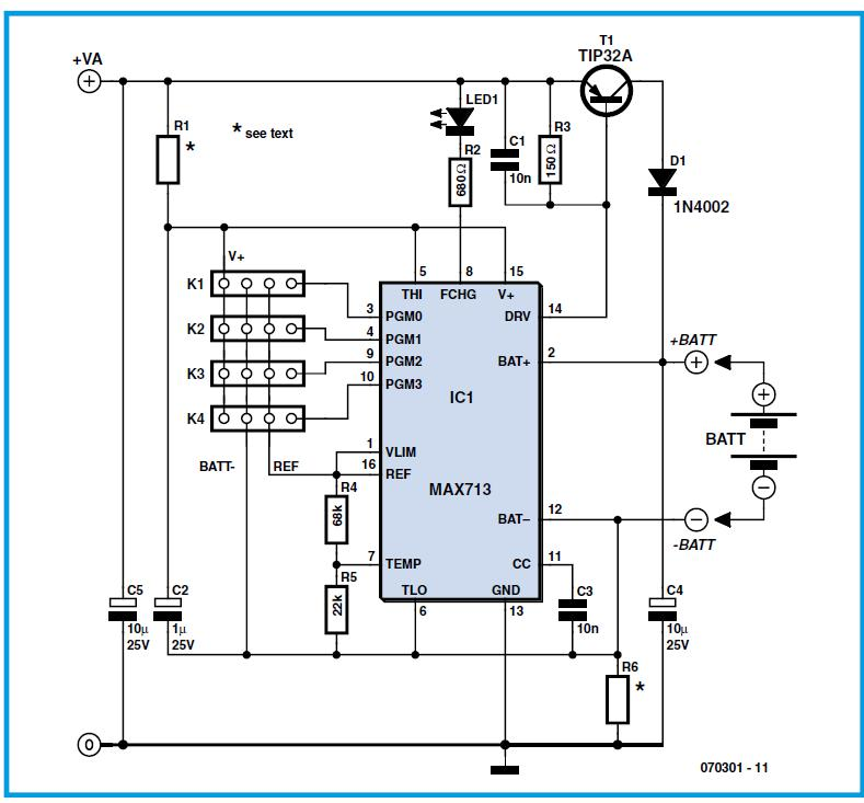 Multi-purpose NiCd & NiMH Charger Schematic Circuit Diagram 1
