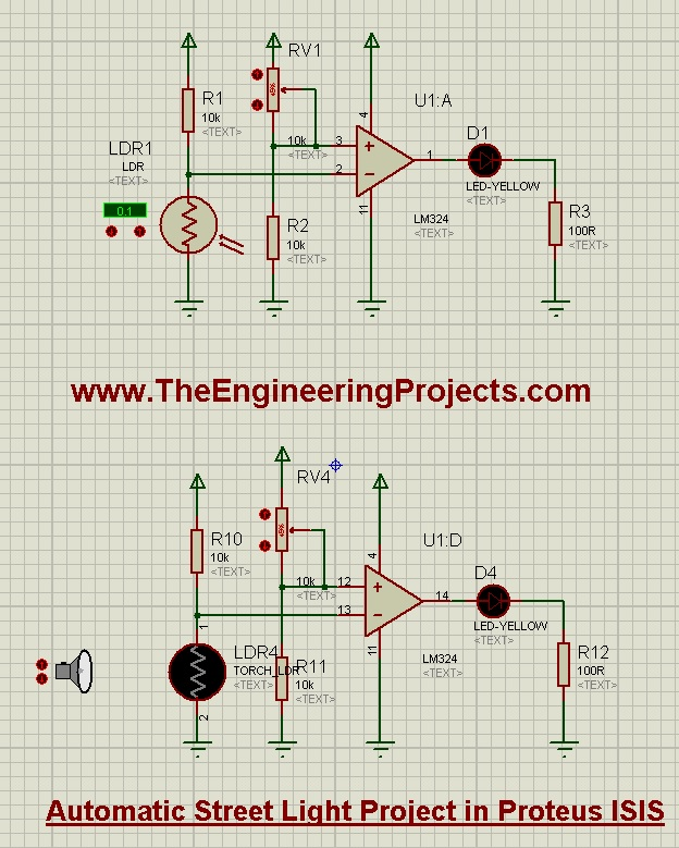Automatic Street Light Project in Proteus Schematic Circuit Diagram 2