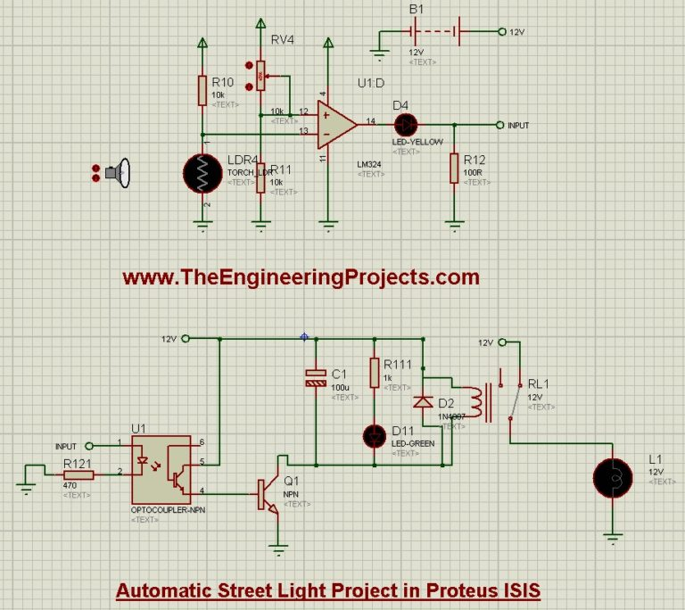Automatic Street Light Project in Proteus Schematic Circuit Diagram 4