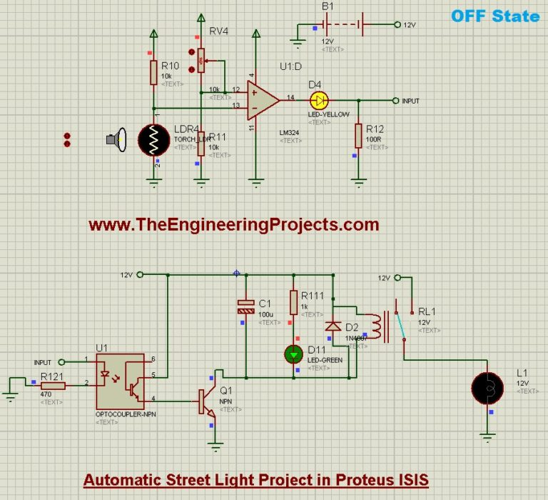 Automatic Street Light Project in Proteus Schematic Circuit Diagram 5