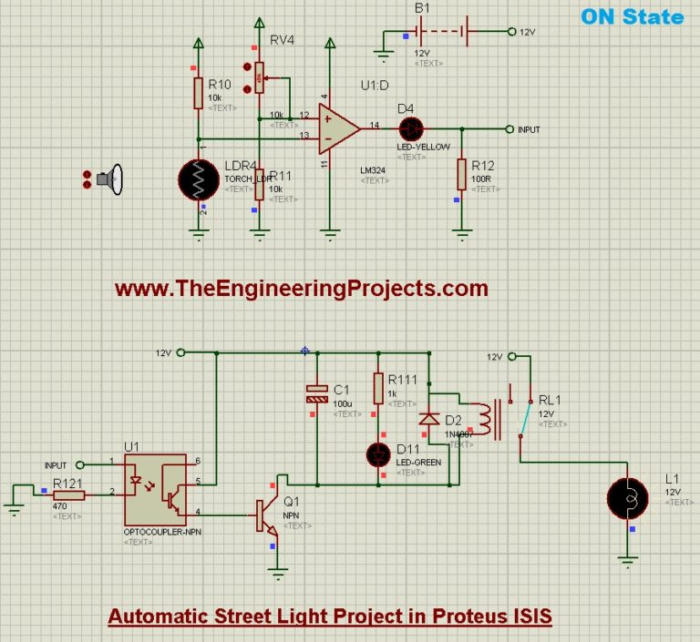 Automatic Street Light Project in Proteus Schematic Circuit Diagram 6