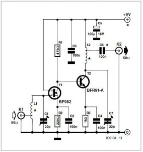 Preamplifier for RF Sweep Generator Schematic Circuit Diagram
