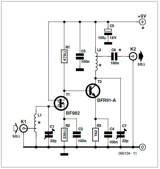 Preamplifier for RF Sweep Generator Schematic Circuit Diagram