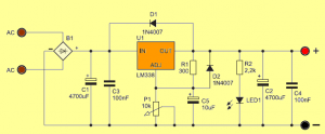 LM338T ADJUSTABLE POWER SUPPLY CIRCUIT SCHEMATIC CIRCUIT DIAGRAM