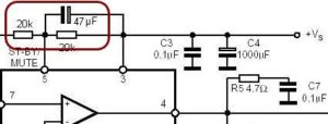 AMPLIFIERS WITH MUTE STANTBY FEATURE SCHEMATIC CIRCUIT DIAGRAM