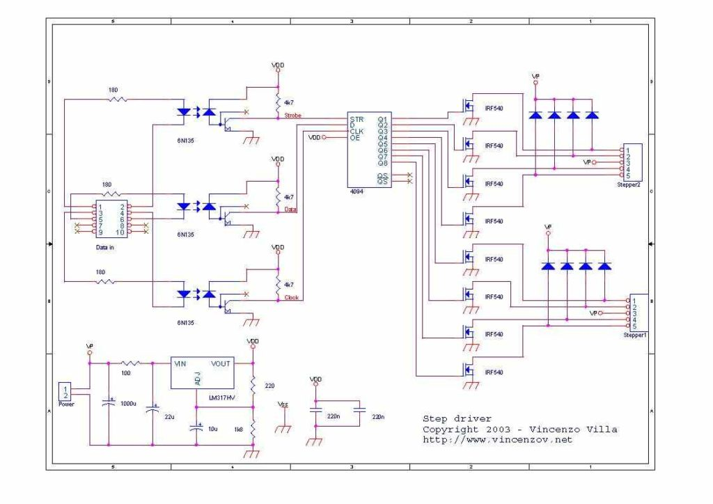 CD4094B 6N135 ISOLATED UNIPOLAR STEPPER MOTOR DRIVER SCHEMATIC CIRCUIT DIAGRAM
