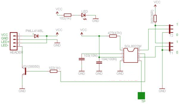 SGL8022W Touch LED PWM Module Schematic Circuit Diagram 5