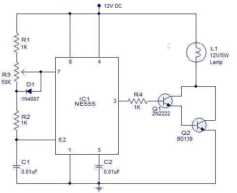 Photo of PWM lamp dimmer using NE555 Schematic Circuit Diagram