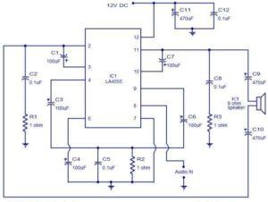 LA4550-Audio-Amplifier-4W-BTL-Schematic-Circuit-Diagram
