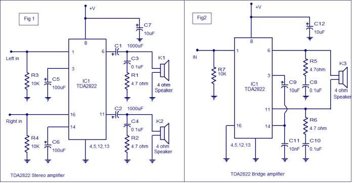 Photo of TDA2822 amplifier circuit ( BTL & Stereo ) Schematic Circuit Diagram